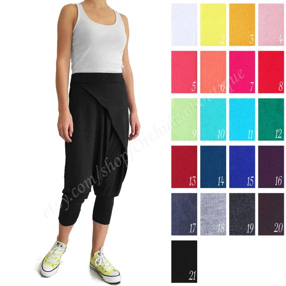 FANI pants harem cropped trousers crossover sweat gypsy drop crotch yoga hippie asymmetrical loose capris casual loose baggy sarouel stretch