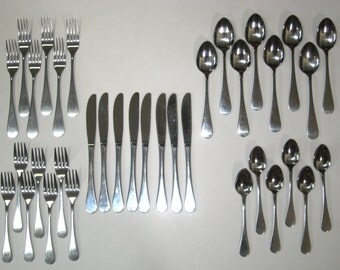 Dansk SILHOUETTE Stainless Flatware 35 Pc Partial Service for 8 Mid Century Modern Japan - 5 pc Place Settings
