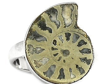 Fossil Pyritized Ammonite Sterling Silver Ring size 8