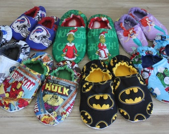 Children's Slippers made with Troll Fabric, Troll Slippers