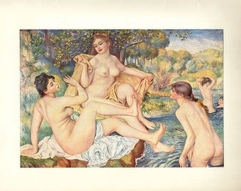 Antique Print, 1952 Renoir The Bathers, 1884 wall art vintage color lithograph illustration historical painting chart