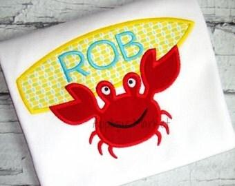 Boy's Surfing Crab Applique Shirt - Summer Applique Design - Boy's shirt - Monogram Summertime Shirt