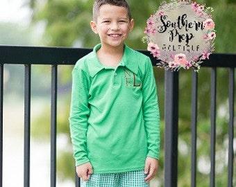 Green Boy's Long Sleeve Monogrammed Polo - Holiday outfit - Monogrammed Shirt - Polo Shirt - Christmas Shirt - Fall Clothing