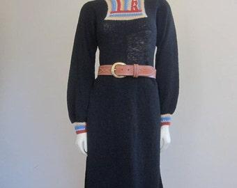 70s Dress / Knit Dress / Black Knit Dress / Made in Scotland / Crochet Trim / Fall Fashion / Boho Dress / Hippie Dress / Boho Hippie Chic