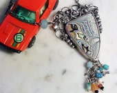 Silver Fordite Necklace with Turquoise, Aventurine, Onyx, Glass and African Trade Beads