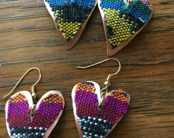 Copper heart with fabric earrings