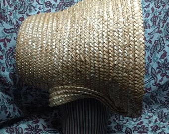SALE Cottage Style Coarse Straw Bonnet - Romantic Era late 1830s - early 1840s - pre-Civil War Era -  by Anna Worden Bauersmith