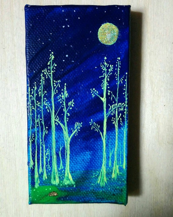 Tiny Canvas Glow in the Dark Moon Forest Landscape Green Tree