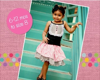 Antoinette's Double Layer Twirly Skirt PDF Pattern sizes 6-12 months to 8