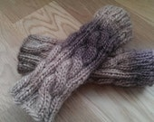 Handcrafted cable knitted Fingerless gloves.