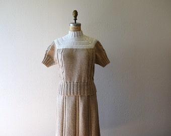 1950s cable knit set . vintage 50s knit dress