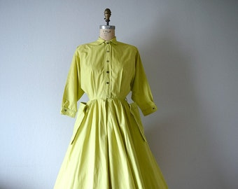1940s dress . chartreuse green dress . vintage shirt dress