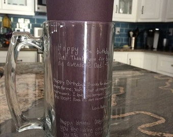 Laser Engraved Handled Mug (Beer Stein) Personalized Signatures for Father's Day, Graduation, Church, Teacher Appreciation Birthday