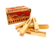 Vintage Wooden Clothespins with Original Box