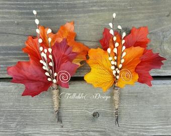 Fall Wedding Boutonniere - Maple & Twigs