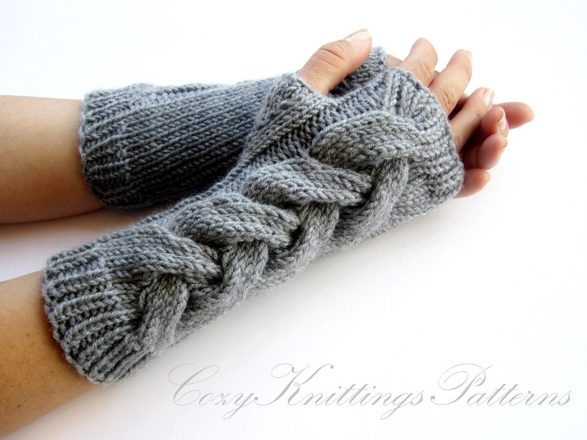 PDF knitting Pattern cabled long arm warmers fingerless gloves