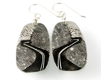 Sterling Silver, Going to the Sun Road, Glacier Road, Glacier Park, Glacier Montana, Earrings, Glacier Park Earrings, Windy Road, 907i