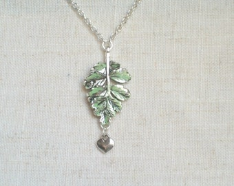 Lovely Evergreen Necklace,  Light Green Branch, Christmas Tree, Nature Jewelry, Tree Hugger, Rain Forest, Teen, Adult, Tiny Heart