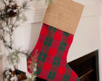 Plaid Monogram Christmas Stocking - Holiday Plaid Stocking - Childrens Christmas Stocking - Initials Stcoking - Family Personalized Stocking