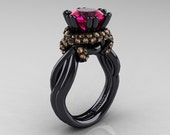 Classic 14K Black Gold 3.0 Ct Rose Ruby Champagne Diamond Knot Engagement Ring R390-14KBGCHDRR