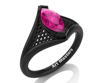 French 14K Black Gold 1.0 Carat Marquise Pink Sapphire Lace Solitaire Engagement Ring R428-14KBGPS