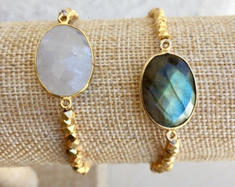 Moonstone or Labradorite and Gold Bracelet