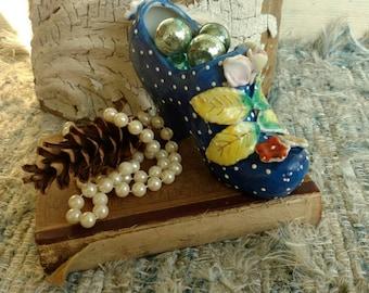 Retro Hand Painted Shoe - Porcelain Antique Collectible, Retro Blue Polka Dot Fine China Decorative Pump, Shelf Sitter, Vintage Gifts