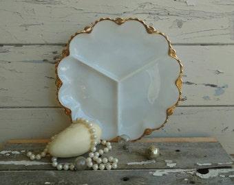 Vintage White Milkglass Servingware Platter - Vintage Opaque Divided Milkglass Plate,  Vintage Rustic Wedding + Home Decor, White Wall Art