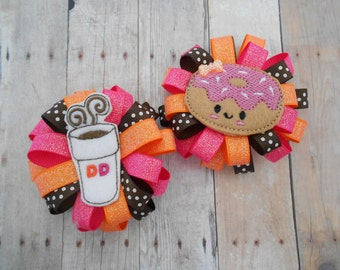 Dunkin Donut coffee and donut loopy flower hair bow set