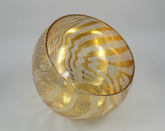Verre Eglomisé Gold Glass Bowl, 23 Karat Gold Leaf on Glass, Slant Bowl, Blown Glass, Swirl Design, Home Décor