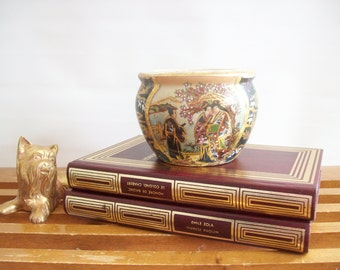 Vintage Chinoiserie Jardiniere, Planter, Cachepot, Asian Style, Hollywood Regency, Gold Trimmed, Flower Pot, Geishas