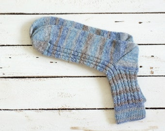 Mens Hand Knit striped US 11,5-12,5 EUR 45-46 Wool Socks brown blue ready to ship