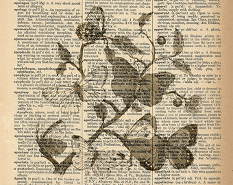 Dictionary Art Print - Butterfly / Butterflies - Upcycled Vintage Dictionary Page Poster Print - Size 8x10