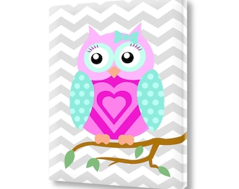 Nursery Wall Art Owl Canvas Print Childrens Decor Chevron Zig Zag Nursery Room Art VWAQ-OV07