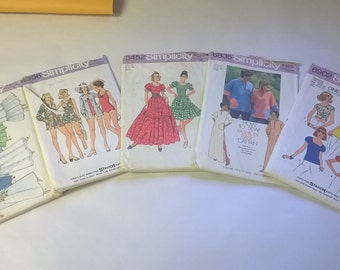 5 Pack Assorted Vintage Simplicity Sewing Patterns SIM 6343