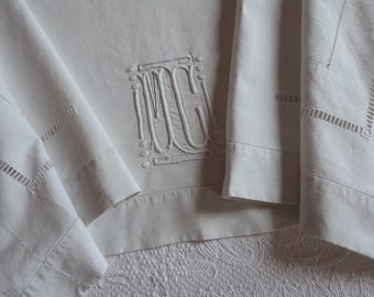 Antique French linen dowry sheet hand monogrammed MC w dotted embroidery wedding linens w monogram embroidery drawnwork line heirloom linens