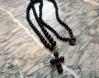 Antique French Victorian mourning necklace religious gutta percha beaded catholic rosary necklace jewelry w beaded cross crucifix pendant