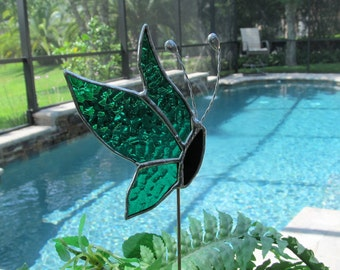 Stained Glass Kelley Green Side View Butterfly -  Plant/Garden Stake - Twisted Wire Antenna