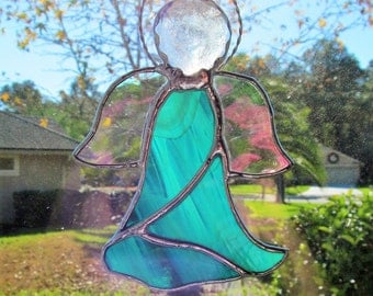 """Stained Glass Angel in Teal and White Wispy Translucent Glass w/Clear Iridescent Water Glass Wings - Suncatcher 5.5"""" x 4"""""""