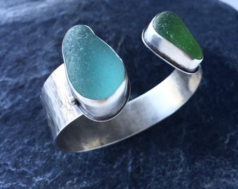 Sea Glass Cuff Bracelet in Aqua and Lime Green Beach Glass Jewelry