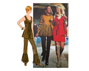 Hippie Boho 70s Fringed Vest and Pants Sewing Pattern Suede Fringe or Fabric Pants Skirt Princess Vest McCalls 2454 Bust 36 Vintage Pattern