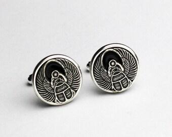 Silver Egyptian Cufflinks, Silver Scarab Cufflinks, Silver Cuff Links, Anniversary Gifts For Men, Egyptian Cufflinks