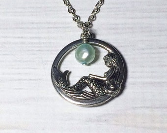 Mermaid Necklace Aquamarine Pearl Mothers Day Gift March Birthstone Mom Girlfriend Friend Sister
