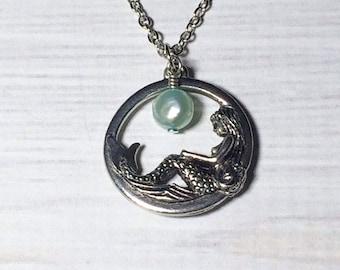 SALE...Mermaid Necklace Christmas Gift Aquamarine Pearl Gift March Birthstone Mom Girlfriend Friend Sister