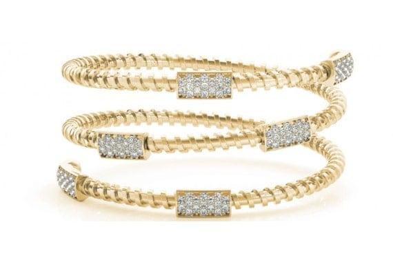 Flexible Diamond Bangle Bracelet Multi Row Crossover 14K White