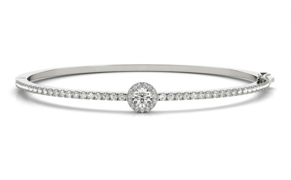 1.75 ct Diamond Halo Bangle Bracelet 14K White Yellow Rose Gold Wedding Gift