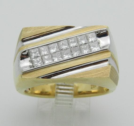 Men's 1.00 ct Princess Cut Diamond Ring Anniversary Band 14K Yellow Gold Size 10