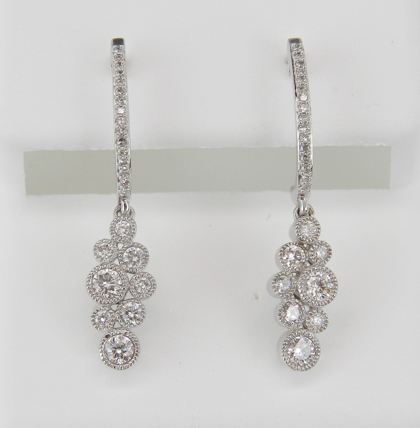 Diamond Earrings Dangle Drop Earrings White Gold Wedding Earrings Half Hoop