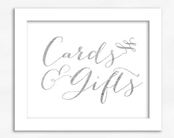 Cards and Gifts Print in Silver Foil Look - Faux Metallic Calligraphy Wedding Gift Table Sign for Reception or Shower (4002)