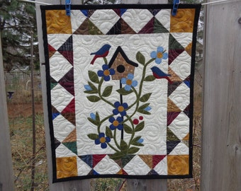 Spring Quilt, Spring Bluebirds and Berries, Country Wall Quilt, 0319-03